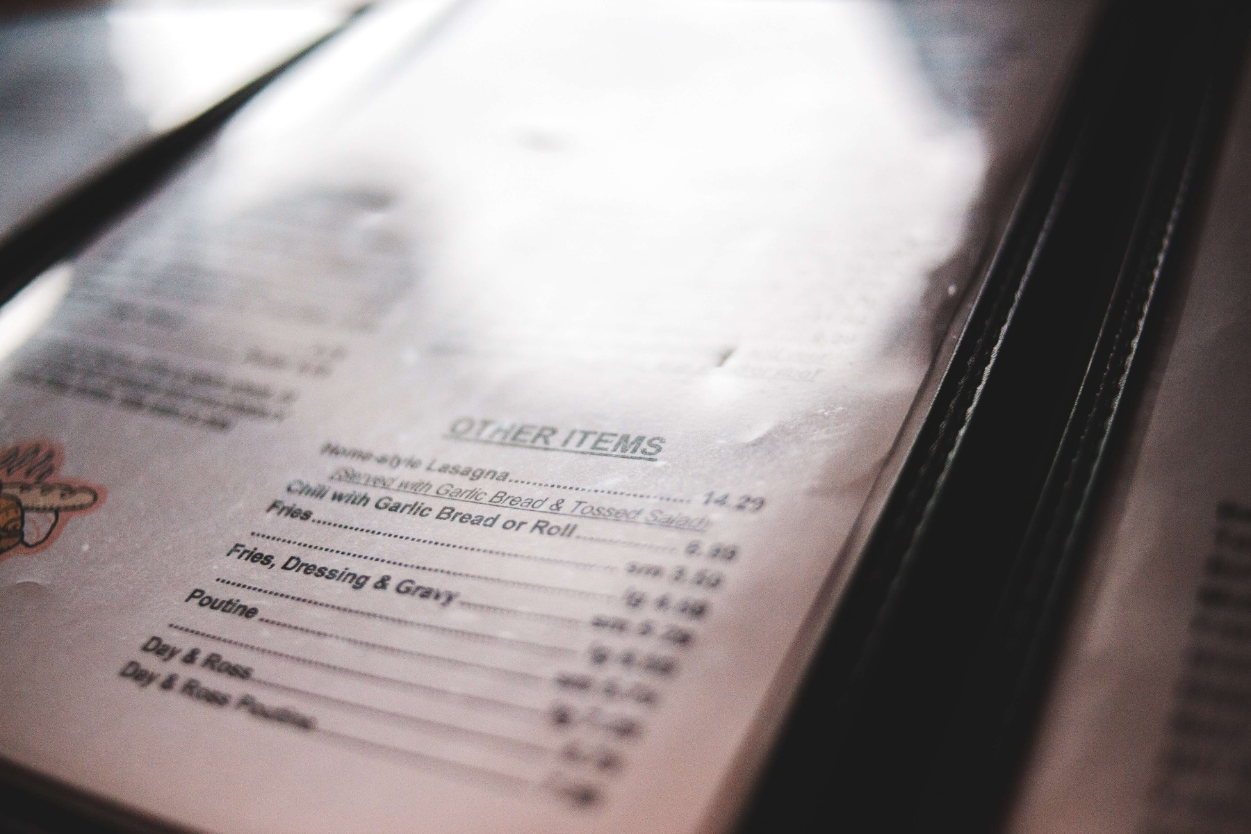 What is the average size of a takeout menu